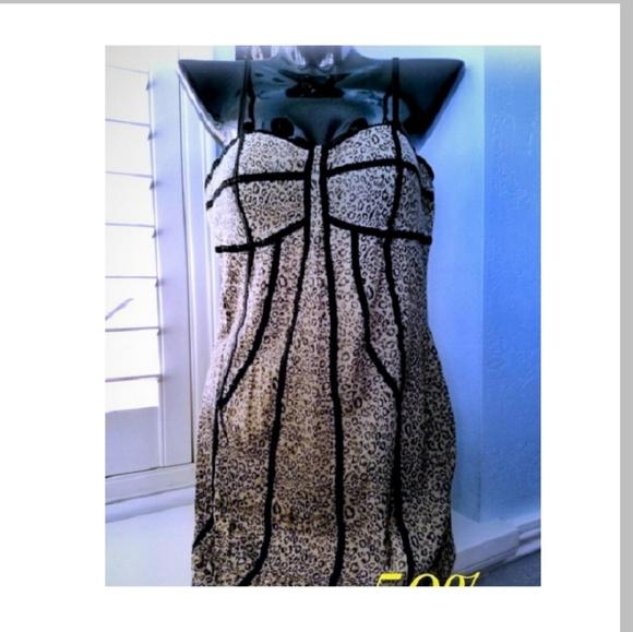 cant read Dresses & Skirts - Tan Animal Cheetah Bustier Spaghetti Strap Dress
